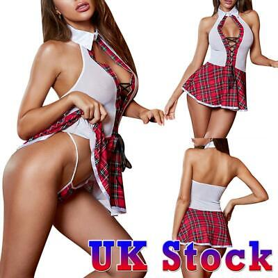 Sexy Women's School Girl Uniform Costume Lingerie Plaid Skirt Fancy Dress Outfit • 9.49£