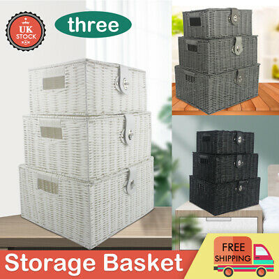 3PCS Rattan Storage Baskets Cosmetics Make Up Laundry Toys Stationary Bathroom • 14.99£