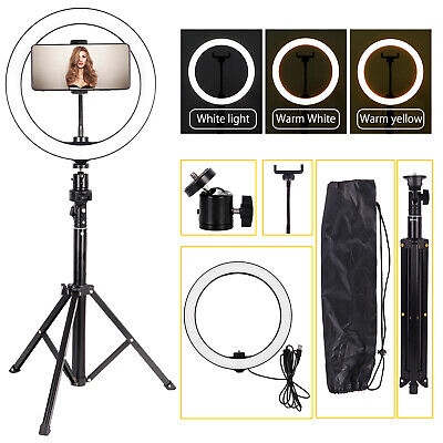 10'' Dimmable LED Ring Light Video Photo Lighting Lamp+1.3M Tripod+Phone Holder • 19.99£