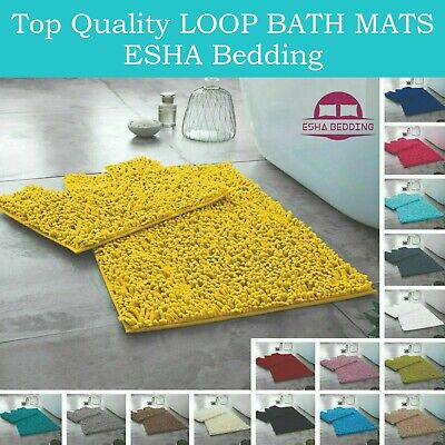 New Loop Memory Bath Mat Set Pedestal Non Slip Bathroom Toilet Rugs Absorbent • 9.97£
