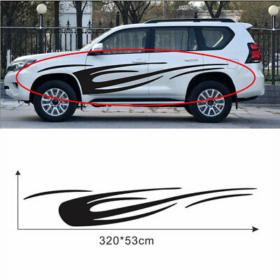 $23.30 • Buy 2Pcs Glossy Black 320x53CM Dynamic Flame Graphics Sticker Fit For Car Body Side