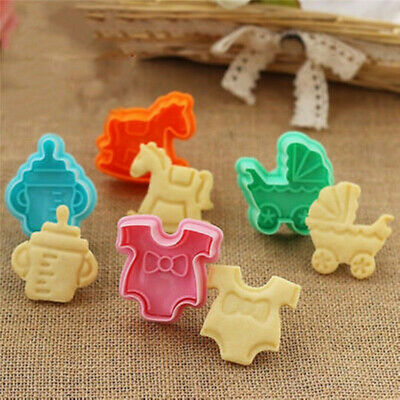 £2.90 • Buy 4Pcs Baby Shower Clothes Cookies Plunger Cutter Mould Fondant Cake Biscuit Mold