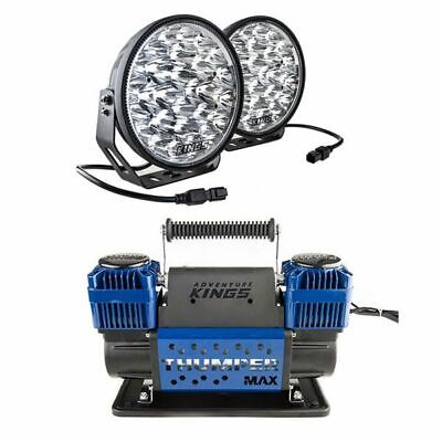 """AU245.10 • Buy Kings Domin8r Xtreme 9"""" LED Driving Lights + Thumper Max Dual Air Compressor"""
