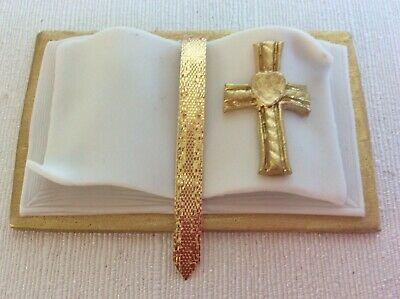 HANDMADE Bible Cake Topper - GOLD And White • 9£