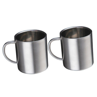 AU14.08 • Buy 2 Pieces 220ml/7.4oz Double Wall Mug Beer Tea Coffee Beverage Insulated Cup