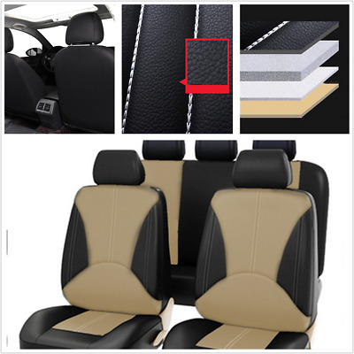$ CDN59.73 • Buy 9Pcs Black/Beige PU Leather Seat Cover Universal Fit For Car Front + Rear Seat