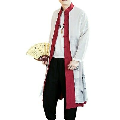 $30.93 • Buy Mens Trench Coat Chinese Style Long Gown Jacket Printed Cotton Windbreaker New L