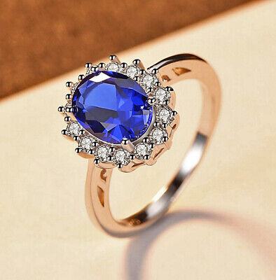 AU23.99 • Buy 925 Sterling Silver Blue Diamond Created Women's Wedding Engagement Ring C12