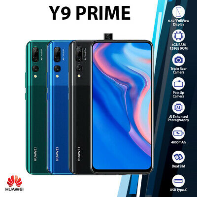 AU319 • Buy  (Unlocked) Huawei Y9 Prime 2019 Black Blue Green 4GB+128GB Android Mobile Phone