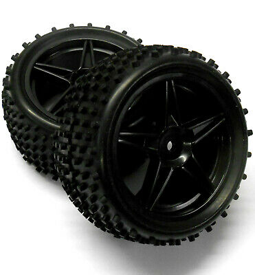£13.99 • Buy 06026 1/10 Scale RC Buggy Rear Wheels And Tyres X2 Black 5 Spoke Plastic