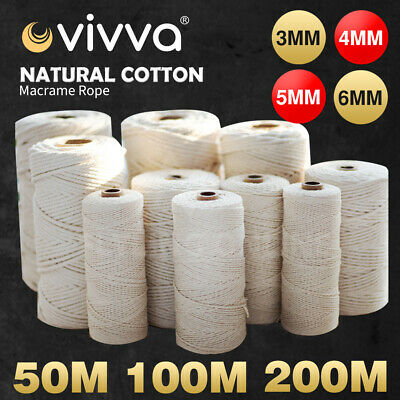 AU21.99 • Buy 3/4/5/6mm Natural Cotton Rope Cord String Twisted Beige Craft Macrame Artisan