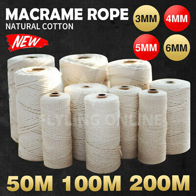 AU14.99 • Buy Natural Cotton Rope Cord String Twisted Beige Craft Macrame Artisan 3/4/5/6mm