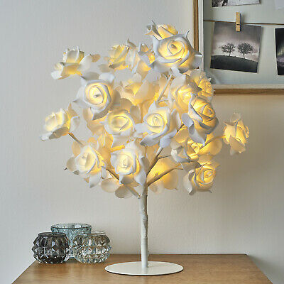 New Beautiful White Rose Bouquet 32 LED's Tree Table Lamp Lights Wedding Party • 22.75£
