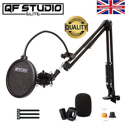 QF Studio Elite Microphone Stand Kit Boom Arm For Music Studio, Podcast, Gaming  • 14.95£