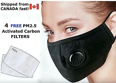 $ CDN9.99 • Buy Washable Reusable Valve Face Mask - Filter Pocket And 4 Free PM2.5 Filters