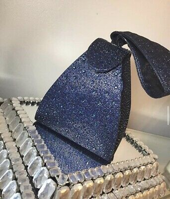 £15 • Buy Small Diamond Navy Blue Clutch Bag With Handle