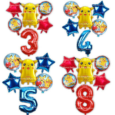 Pikachu Pokemon Birthday Balloons Party Decoration Age Number Foil Balloons Game • 8.99£