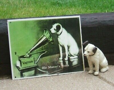 Hmv Enamel Sign His Master's Voice - Famous Image Nipper The Dog And Gramophone • 49.99£