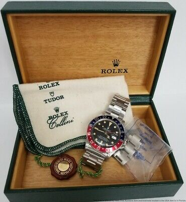 $ CDN11480.57 • Buy Stunning Rolex GMT Master 16750 Steel Mens Pepsi Bezel Watch W Box