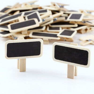 £7.95 • Buy 50 Mini Black Boards Wooden Photo Note Clip Wedding Table Number Signs & Prices