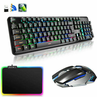 AU82.89 • Buy Wireless Rechargeable LED Backlit USB Gaming Keyboard Mouse And RGB Mousepad Set