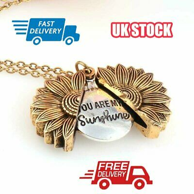 You Are My Sunshine Open Locket Fashion 18  Pendant Necklace Gold Sunflower JM • 2.76£