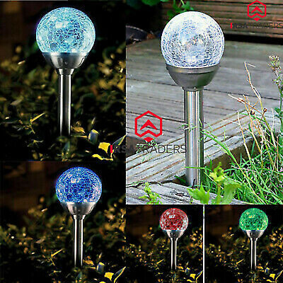 3 X STAINLESS STEEL SOLAR POWERED COLOUR CHANGING LED CRACK BALL GARDEN LIGHTS • 11.95£