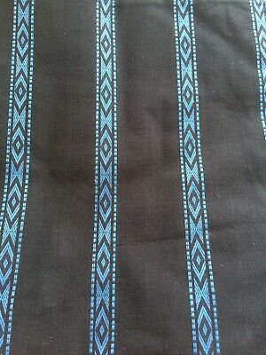 Black Background With Blue Aztec Print In Stripes Fabric Material - 100% Cotton • 1.50£