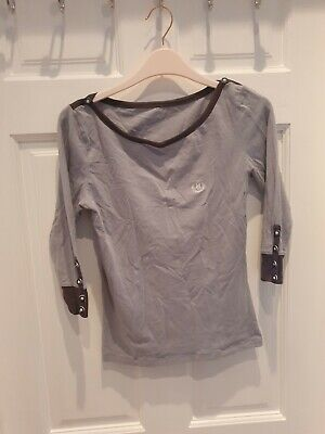 Henry Lloyd Grey Button Cotton Top 3/4 Sleeve - Size 10 - Cheap Clothes  • 4.50£