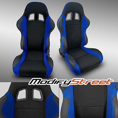 $308.99 • Buy 2 X BLUE+BLACK PINEAPPLE FABRIC/PVC LEATHER RACING BUCKET SEATS + SLIDER PAIR