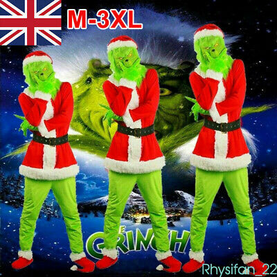 Adult Costume The Grinch Men Christmas Santa Xmas Cosplay Fancy Outfit Set M-3XL • 32.99£