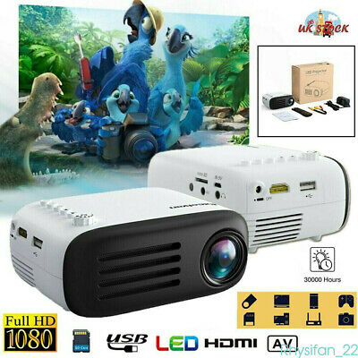 7000 Lumens Full HD 1080P Mini LED Projector Home Theater Cinema USB HDMI AV 4K • 35.99£