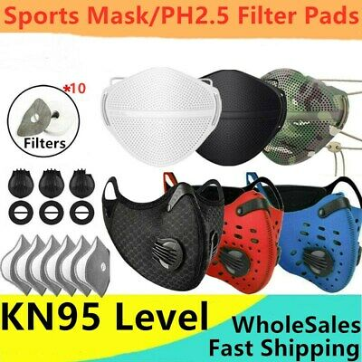 $ CDN11.10 • Buy Reusable Face Mask Mouth Cover Breathable Valve W/ 10X Carbon Filter Pad Outdoor