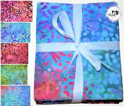 100% Cotton Premium Quilting Craft Batik Fat Quarter Bundles Fabric 5 FQ  • 9.99£