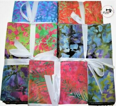 Printed Batik Fat Quarter Bundles 100% Cotton Quilting Craft Fabric, 5 Pack FQ,  • 10.99£