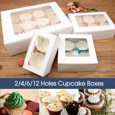 AU19.99 • Buy 2/4/6/12 Holes Cupcake Box Window Face Cake Boxes Boards White Cupcake Boxes AU