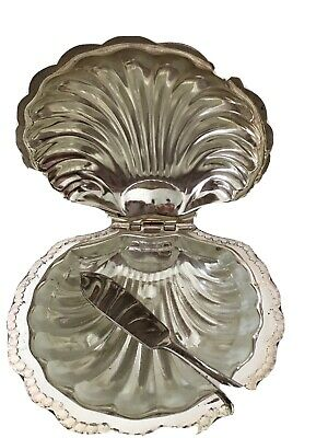 Vintage Silver Plate Shell Shaped Butter Dish And Knife  • 4.99£