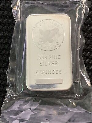 $ CDN164.09 • Buy 5 Oz .999 Fine Silver Sunshine Bar 5 Oz Sealed In Plastic