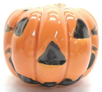 $45 • Buy Vintage Haeger Usa Ceramic Orange Jack-o-lantern Pumpkin Flower Pot Planter #311