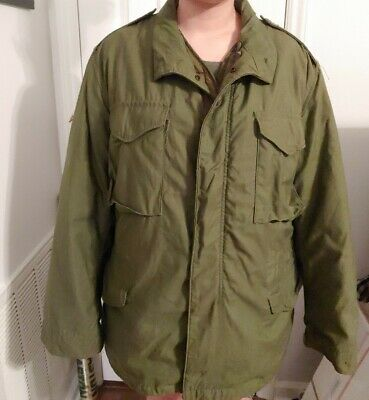 $ CDN92.63 • Buy Vintage Mens Large M65 Field Jacket Olive Army Green Quilted Lining - Cold Coat