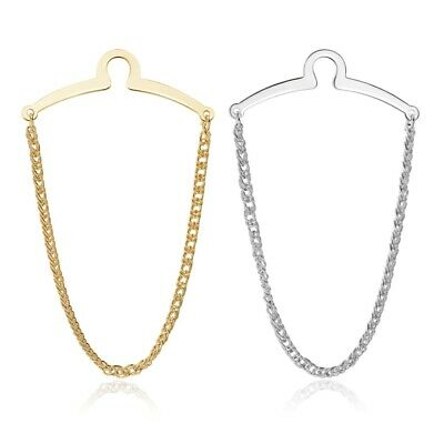 $7.99 • Buy 2PCS Mens Necktie Link Tie Chain Silver Gold Metal Tack Clip Clasp Tack Business