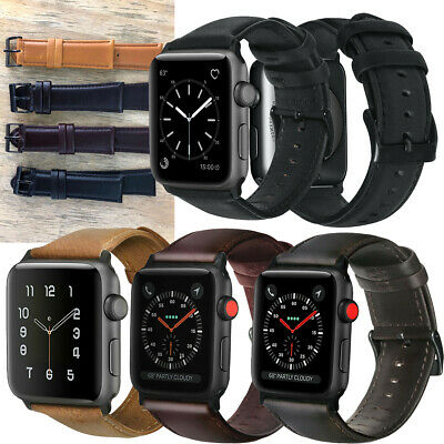 $ CDN17.64 • Buy For Apple Watch Series 5 4 3 2 1 Leather Oil Wax Skin Band Wrist Straps Buckle