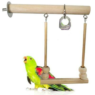 £4.22 • Buy Bird Swing Wooden Parrot Perch Stand Playstand With Chewing Beads Cage Play Toys