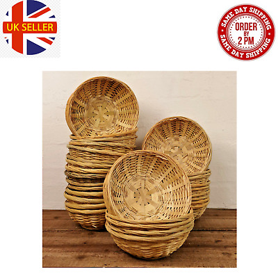 Natural Bamboo New Wicker Round Oval Storage Display Hamper Trays Bread Baskets  • 10.99£