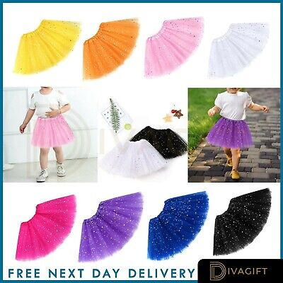 Girls Glitter Tutu Skirt Dance Party Hen Ballet Tulle Tutu Skirt 2-8 Years • 3.49£