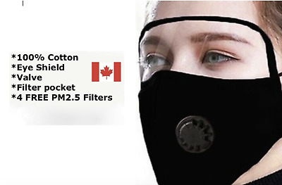 $ CDN11.69 • Buy Reusable Face Mask - Valve Protective Eye Shield And 4 FREE PM2.5 Carbon Filters