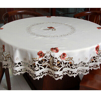 AU37.85 • Buy Round Floral Lace Tablecloth Embroidered Dining Table Cover Banquet Home Decor
