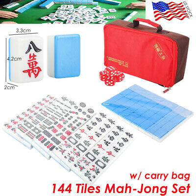 $35.99 • Buy 144 Tiles Mah-jong Set Game With Carry Bag Green Blue Portable Chinese Gift