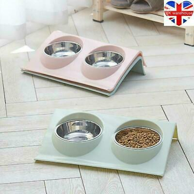 Stainless Double Food Water Pet Feeding Bowl Puppy Cat Dog Kitten NON Slip Dish • 6.69£