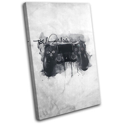 Grunge Retro Playstation PS4 Gaming SINGLE CANVAS WALL ART Picture Print • 19.99£